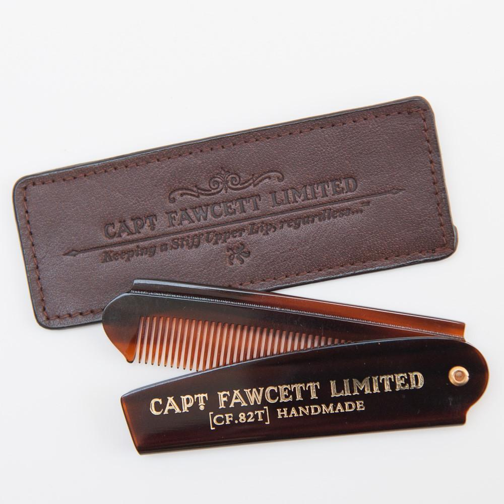 Folding Pocket Beard Comb (CF.82T) with Leather Case